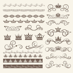 Calligraphic elements for design. Borders, frames and swirls