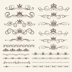 Vintage Borders, frames and swirls. Calligraphic elements for design. Vector image
