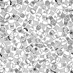 Seamless vector pattern of hand drawn sketch style cupcakes. Vector illustration.