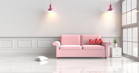 Two red hearts on pink sofa in white living room decor with tree,pillows, pink lamp, Wood bedside table, Window, White wall&floor. Rooms of Love on Valentine`s Day. Background and interior. 3D render.