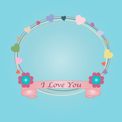 Note paper with ribbon, heart and floral. Vector illustration. EPS10