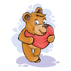 The enamored bear has a red heart. Vector illustration for Valentine`s Day.
