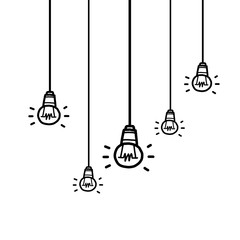 hanging five light bulbs / cartoon vector and illustration, black and white, hand drawn, sketch style, isolated on white background.
