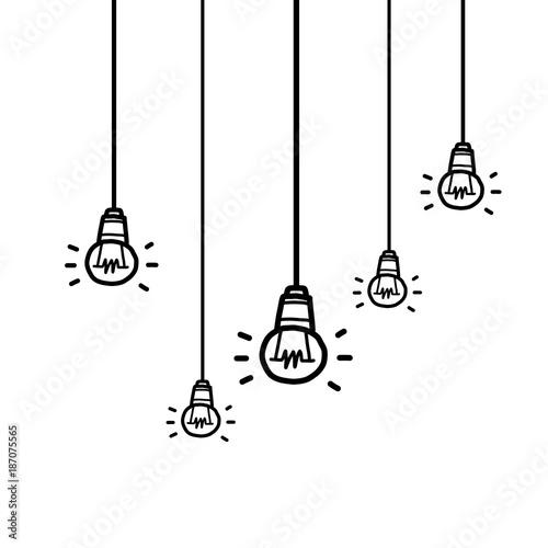 Hanging Five Light Bulbs Cartoon Vector And Illustration Black