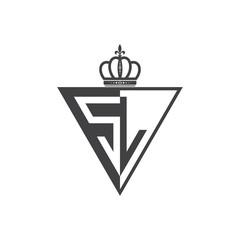 initial two letter half logo triangle UA to UZ black