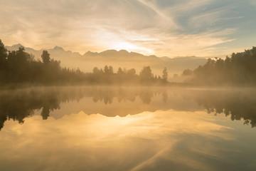 Sunrise at Mathson lake Aoraki Mount Cook National Park New Zealand, natural landscape background