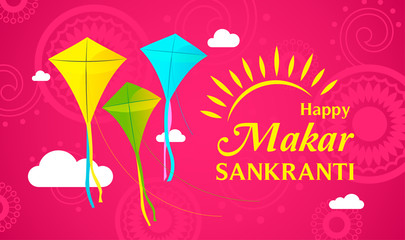 Happy Makar Sankranti vector illustration, Colorful flying kites on magenta background.