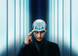 Artificial Intelligence Working Together with Human Concept, Businessman with AI Robot Head are Thinking, finger on head and closed eyes, Future Interior as background, Front view