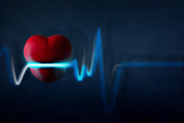 Heart Pain or Attack Concept, Healthcare and Problem present by Stressed Grunge Heart and Rate Beat