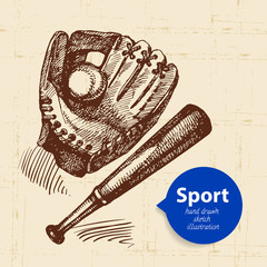 Hand drawn sport object. Sketch baseball vector illustration