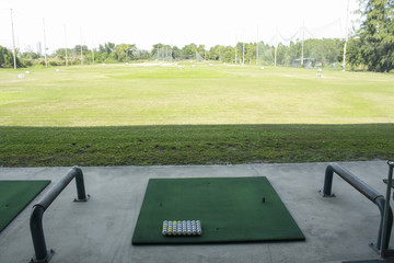 Golf course driving range,Golf ball ready for drive in driving range