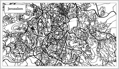 Jerusalem Israel City Map in Black and White Color.