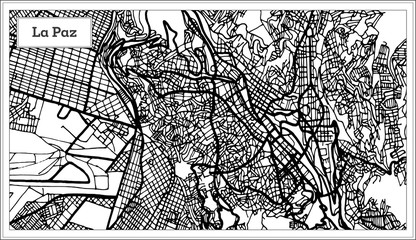 La Paz Bolivia City Map in Black and White Color.