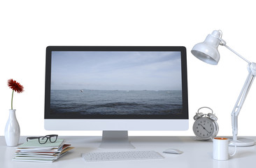 Desktop computer screen on white top desk,working space,working background.3d rendering