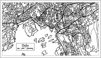 Oslo Norway Map in Black and White Color.