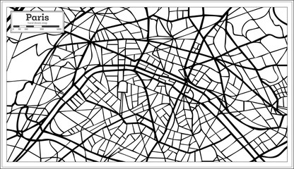 Paris France City Map in Black and White Color.