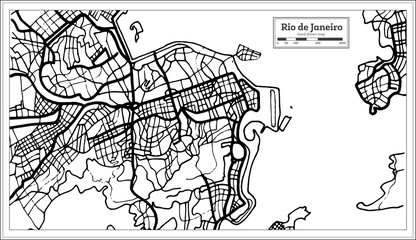 Rio de Janeiro City Map in Black and White Color.