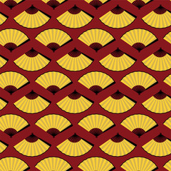 graphic seamless pattern bright yellow open fan on red background