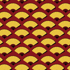 seamless pattern bright yellow open fan on red background