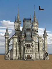Gothic ancient castle isolated on the sky background 3d render