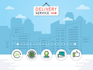 Delivery service vector illustration. Delivery service concept with flat icons on city background. Logistic and delivery concept illustration