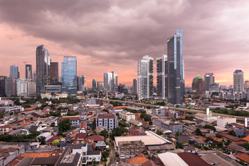 Stunning susnset over Jakarta business district in Indonesia capital city