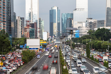 Rush hour in Jakarta business district in Indonesia capital city Wall mural