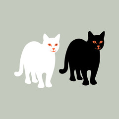 cat   vector illustration  black silhouette  flat style   front