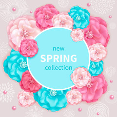 Spring background with pink and turquoise decorative flowers, abstract hand drawn elements. Design for greeting cards, calendars, banners, posters, invitations.