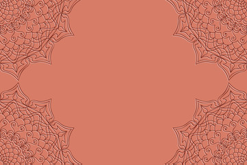 Card template with mandala border element. design with floral geometric pattern. vector illustration. brown color.