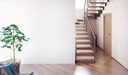 Modern interior with stairs. 3d illustration. Mock up wall Fototapete