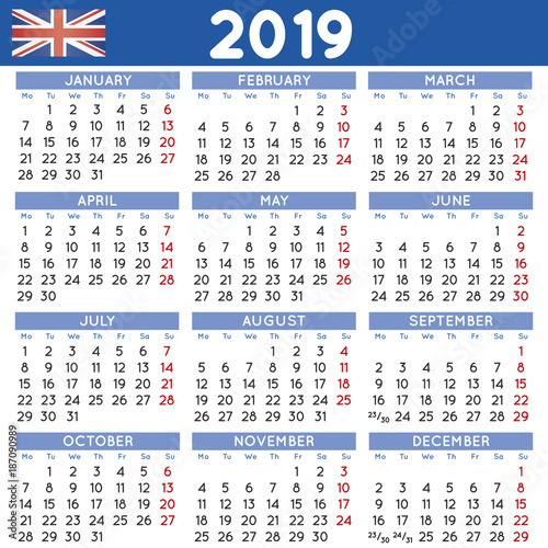 2019 calendar in black english horizontal uk stock image and royalty free vector files on fotoliacom pic 187091004