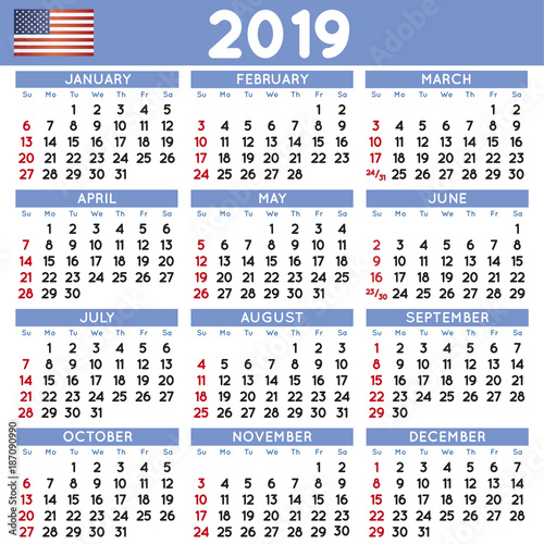 "School Shooting United States 2019: ""2019 Squared Calendar English USA"" Stock Image And"