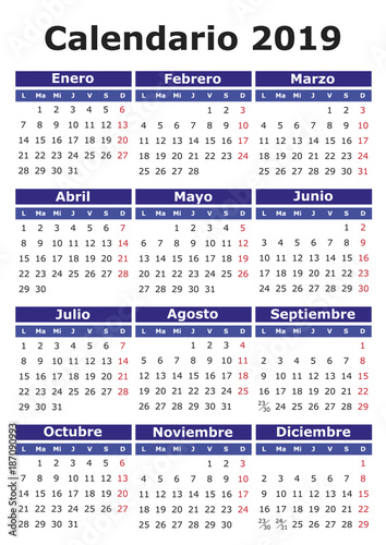 Calendario Julio 2019 Vector.Spanish Calendar 2019 Stock Image And Royalty Free Vector