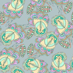 Floral and butterfly abstract seamless pattern. Vector background