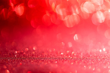Red Abstract Background with Bright Bokeh Lights for Valentine's Day or Christmas