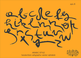 The font alphabet vector set. Handwritten  lowercase black letters in Arabic style on orange background.