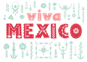 "Trendy poster ""Viva Mexico"" with lettering and decorative floral elements."