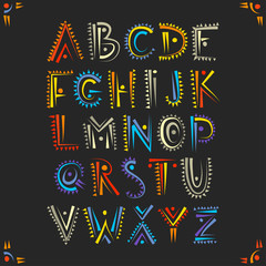 Vector handwritten alphabet in African ethnic style. Uppercase ornamental multicolor letters on a black background.