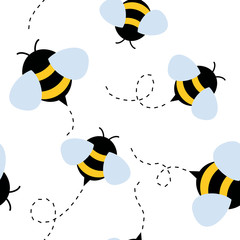 bee seamless pattern. honey vector.