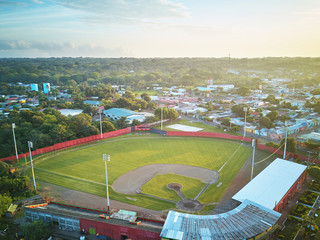 Baseball stadium  in morning light