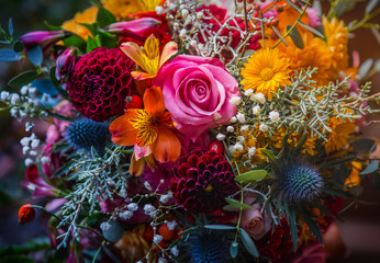Tuinposter Bloemen Beautiful, vivid, colorful mixed flower bouquet still life detail