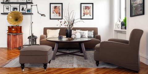 Modern Retro Style Furnishing (panoramic)
