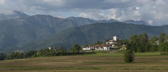 landscape with castle of Zegliacco in Treppo Grande city of Friuli