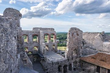 Fotobehang Kasteel Ruined walls of famous Ogrodzieniec Castle in Polish Jurassic Highland, Silesia region in Poland