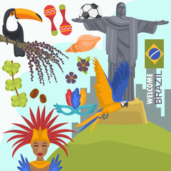 Travel to Brazil color illustration for web and mobile design