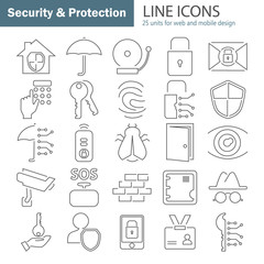 Safety and security line icons set for web and mobile design