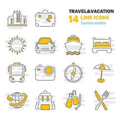 Travel and vacation line thin icons set for web and mobile design