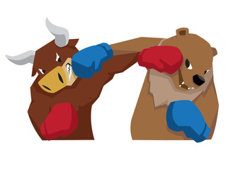 bull vs bear symbol of stock market trend illustration red blue