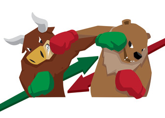 bull vs bear symbol of stock market trend illustration arrow green red
